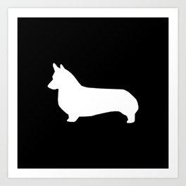 Corgi black and white welsh corgi silhouette dog breed custom dog patterns Art Print