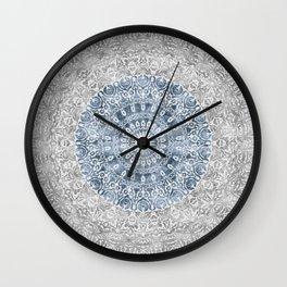 New Vintage Floral Mandala Ink Blue Wall Clock