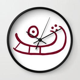 Sun Boat | Sun and boat petroglyph from Madsebakke, Bornholm, Denmark.  Wall Clock