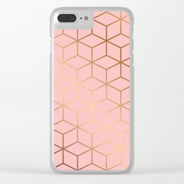 Pink and Gold Geometry 011 Clear iPhone Case