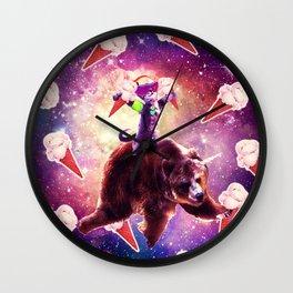 Rave Space Cat On Bear Unicorn - Ice Cream Wall Clock