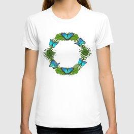 Blue Butterfly Palm Leaf Wreath T-shirt