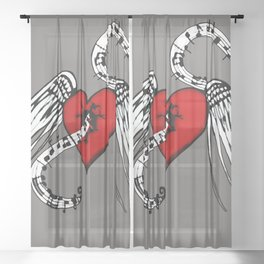 Heart Music Sheer Curtain