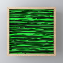 Lime Green and Black Stripes Framed Mini Art Print
