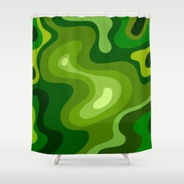 Multi Color Green Liquid Abstract Design Shower Curtain