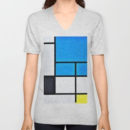 Composition With Large Blue Plane, Red, Black, Yellow, And Gray - Piet Mondrian Unisex V-Neck