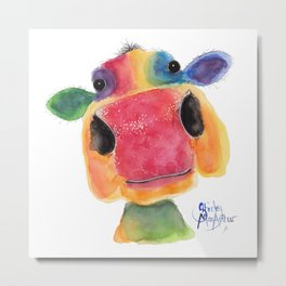 Nosey Cow ' BRIDGET ' by Shirley MacArthr Metal Print