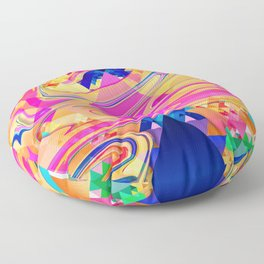 Colorful Pattern Waves Floor Pillow