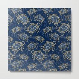 Japanese Pond Turtle / Dark Blue Metal Print