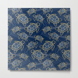 Japanese Pond Turtle / Dark Blue Metal Print