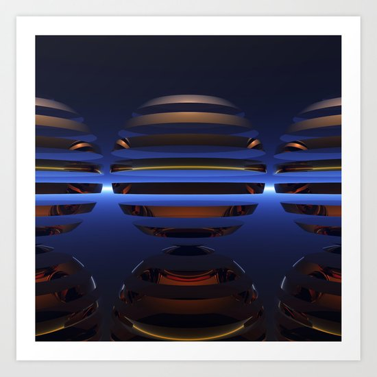 Split Spheres (Night) Art Print