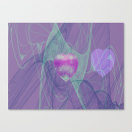 Heart Art- Abstract Art- Now or Later- Pink Heart- Purple Heart-Green-Pattern Art- Sacred Geometry Canvas Print