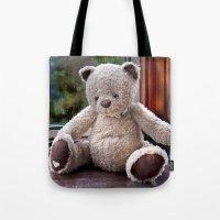 teddy bear Tote Bags featuring Teddy Bear  by Fran Walding