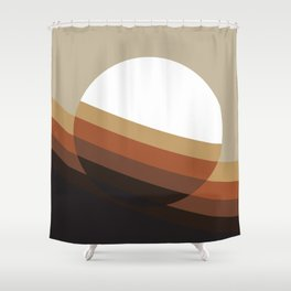 70's Retro Sun In Brown Shower Curtain