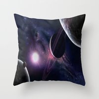 outer space Throw Pillows featuring OUTER SPACE by Dav-idz- Art- Gallery