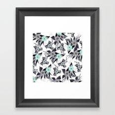 Modern spring grey mint green watercolor floral illustration pattern Framed Art Print