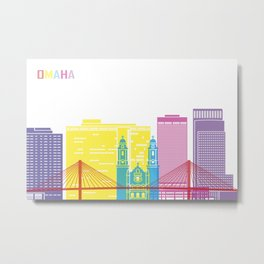 Omaha skyline pop Metal Print