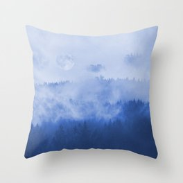 Explore The Blue Mountains At Full Moon Throw Pillow