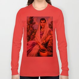 Jesus Helguera Painting of a Calendar Girl with Cream Shawl Long Sleeve T-shirt