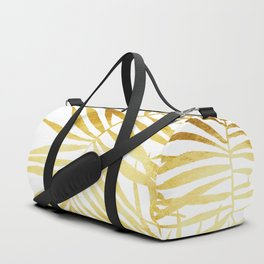 Tropical Palm Fronds in Gold Duffle Bag