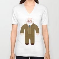 freud V-neck T-shirts featuring Sigmund Freud by Late Greats