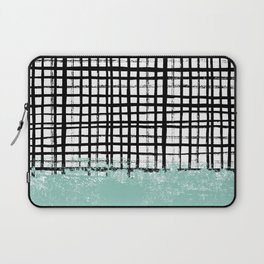 Mila - handpainted grid lines crosshatch weave with mint sage stripe minimalist nursery Laptop Sleeve