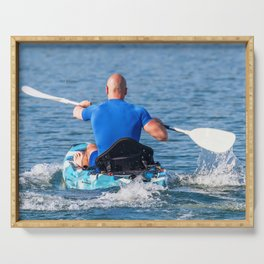 Kayaker Man Paddle Kayak. Kayaking, Paddling, Canoeing. Serving Tray