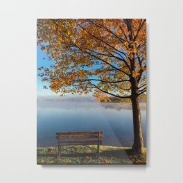 Autumn bench by the lake Metal Print