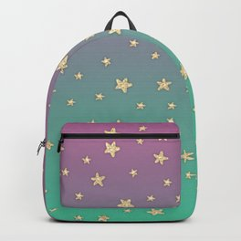 Pink turquoise gradient faux gold glitter stars Backpack