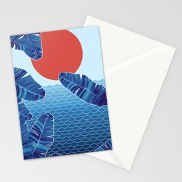 Blue and Red Beach Stationery Cards