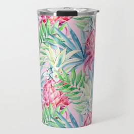 Pineapple & watercolor leaves Travel Mug