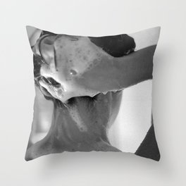 Woman Showering, 35mm Film, B&W Throw Pillow