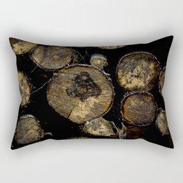 A Wall of Logs Rectangular Pillow
