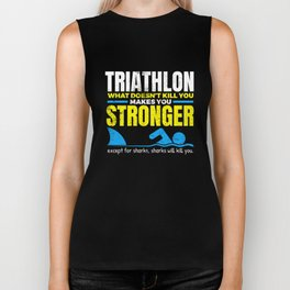 Funny Triathlon What Does Not Kill You Shark  Biker Tank