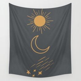 Sun, Moon and Stars Wall Tapestry