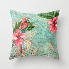 Tropical Map Throw Pillow