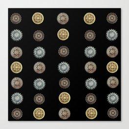 4 Tiny Mandala Metallic Textile on Black Canvas Print