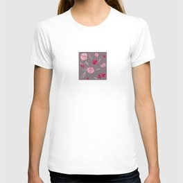 Watercolor pink & red peonies on dusty pink background T-shirt