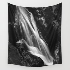 Black and white waterfall in Hell Gorge, Slovenia Wall Tapestry