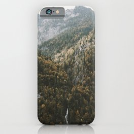 Autumn Waterfall at the Mountain Lake - Landscape Photography iPhone Case