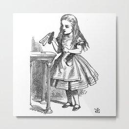 Drink Me vintage Alice in Wonderland emo goth antique book sketch drawing print  Metal Print