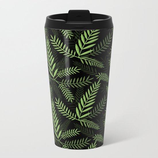 GREEN LEAVES ON BLACK Metal Travel Mug