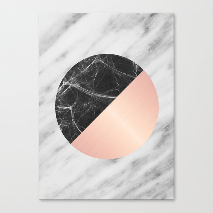 Carrara Italian Marble Black and Pink Canvas Print