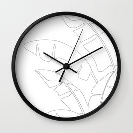 Minimal Line Art Banana Leaves Wall Clock