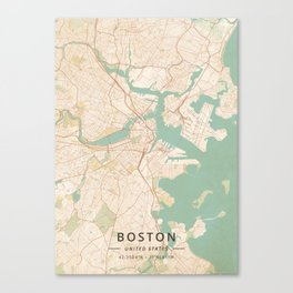 Boston, United States - Vintage Map Canvas Print