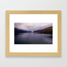 Lake Hawea lake wakatipo blue crystal clear panorama Framed Art Print