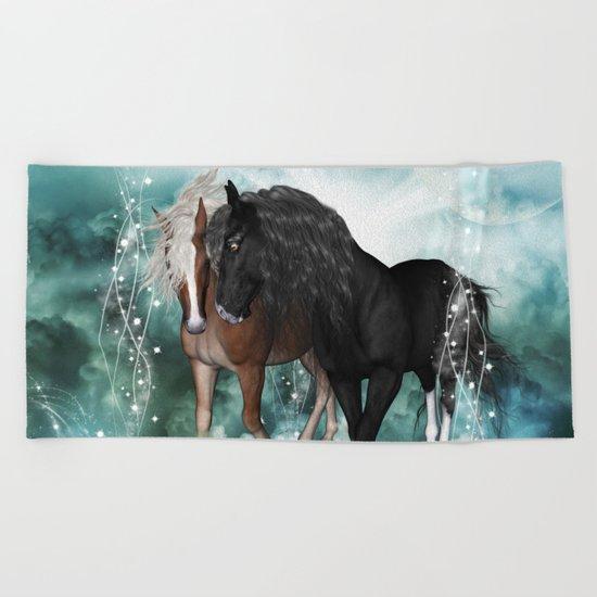 Wonderful couple horses Beach Towel