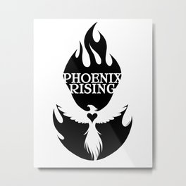 PHOENIX RISING black with flames and heart center Metal Print
