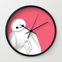 baymax Wall Clocks featuring baymax  by Lifa Febriani