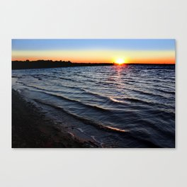 Sunset with Rippled Waves Canvas Print